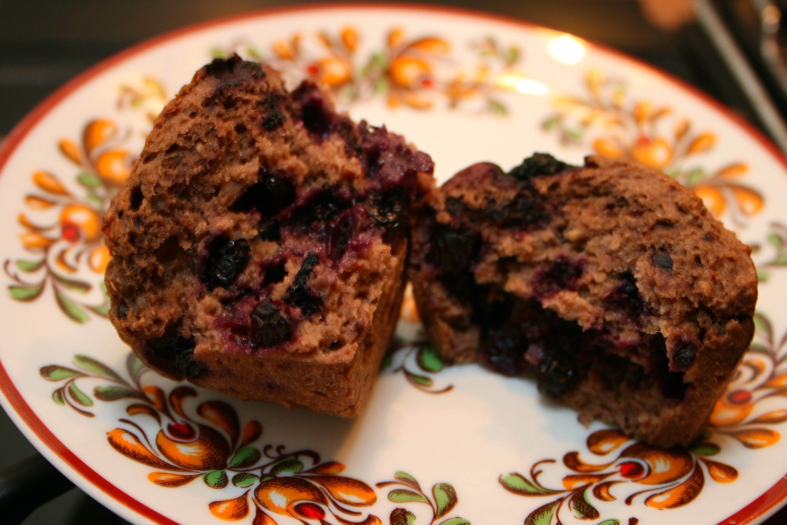 sugar-free, oil-free blueberry muffins