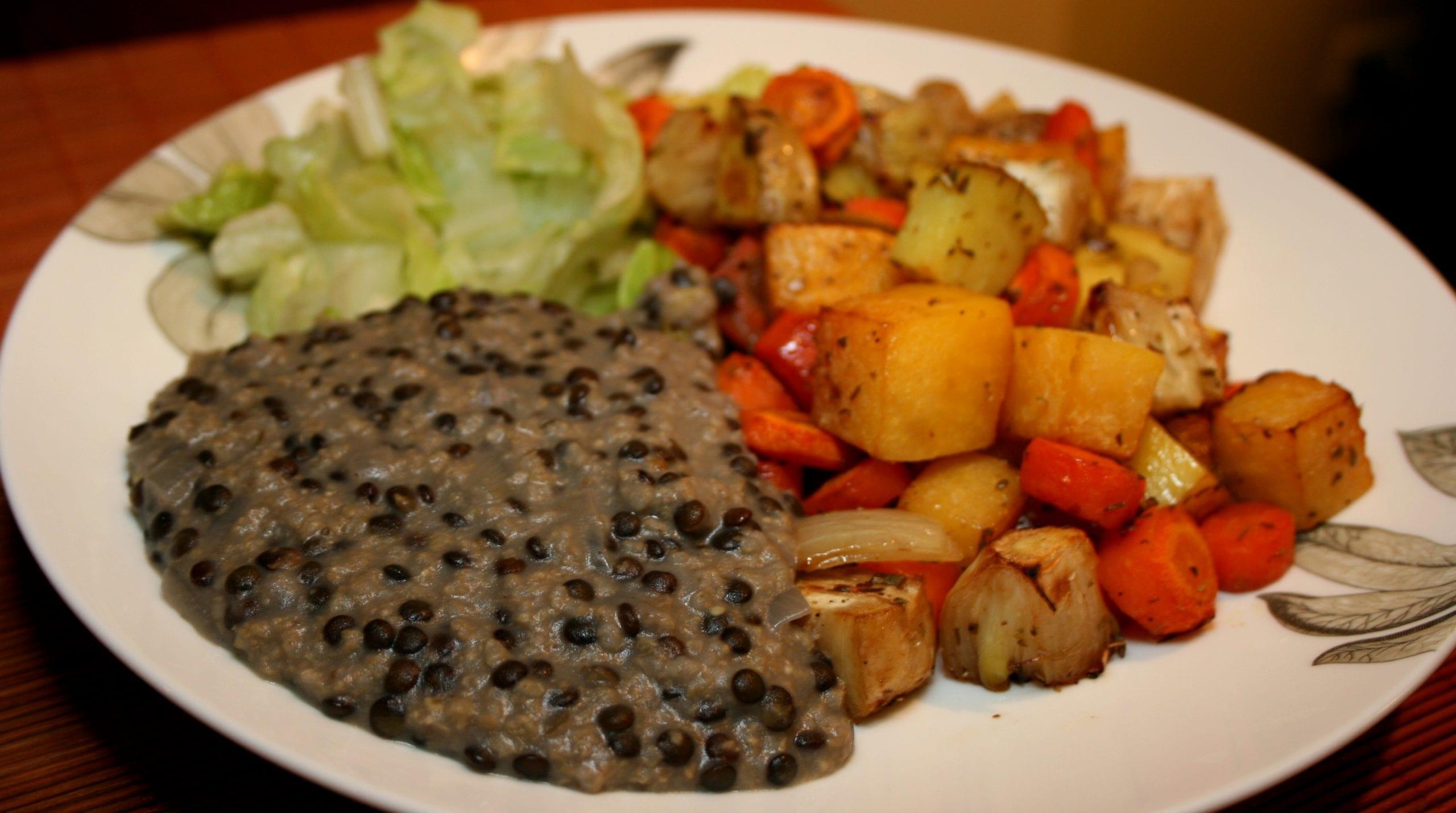 millet, beluga lentils, oven-baked vegetables, green salad