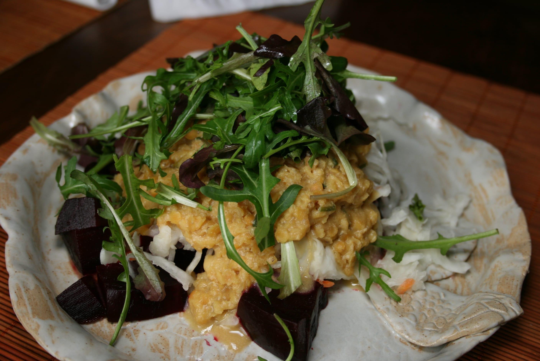 Lentils-sauerkraut-beetroot rucola