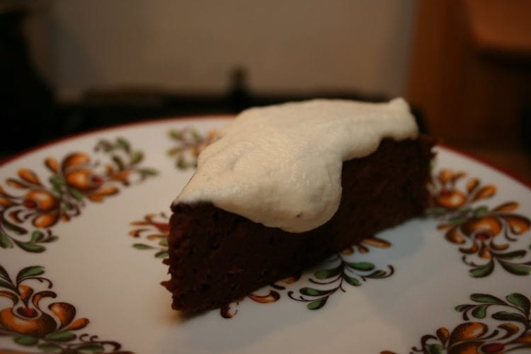Peanut Butter-Beet-Bean Brownie with Cashew Cream