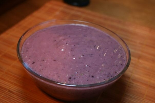 banana, coconut milk, water, frozen cherries, blueberries