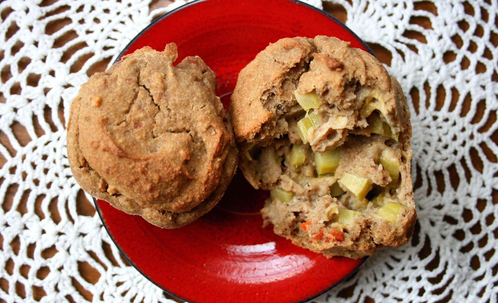 Plant-Based Oil-Free Sugar-Free Rhubarb Muffins