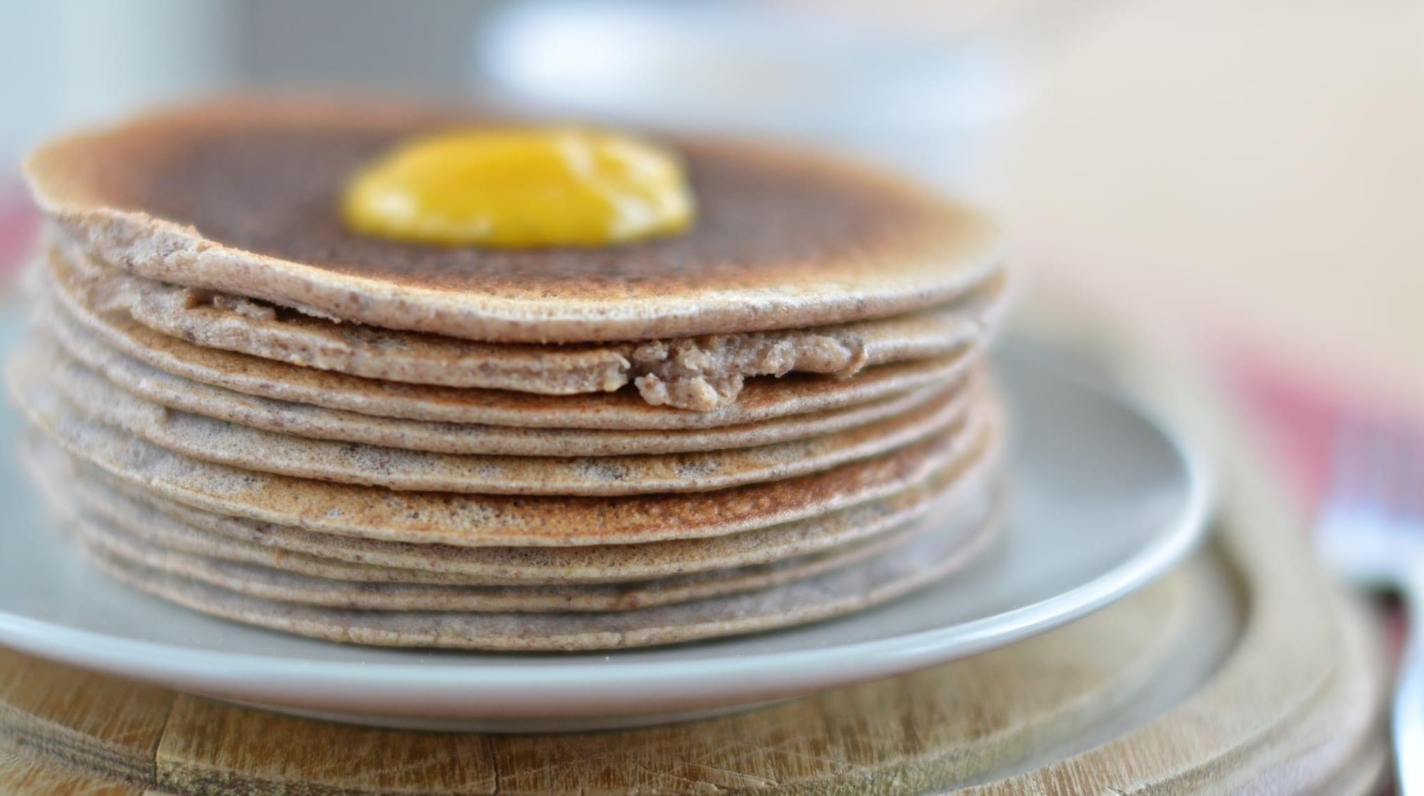 Raw Buckwheat Pancakes with Mango Jam