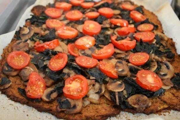 recipe, dinner, lunch, snack, vegan, plant-based, oil-free, flourless, gluten-free, lactose-free, casein-free, health-food, cauliflower, chickpeas, kale, mushrooms, tomatoes,
