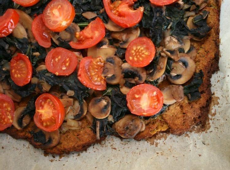 Plant-Based Flourless Kale-Mushroom Pizza