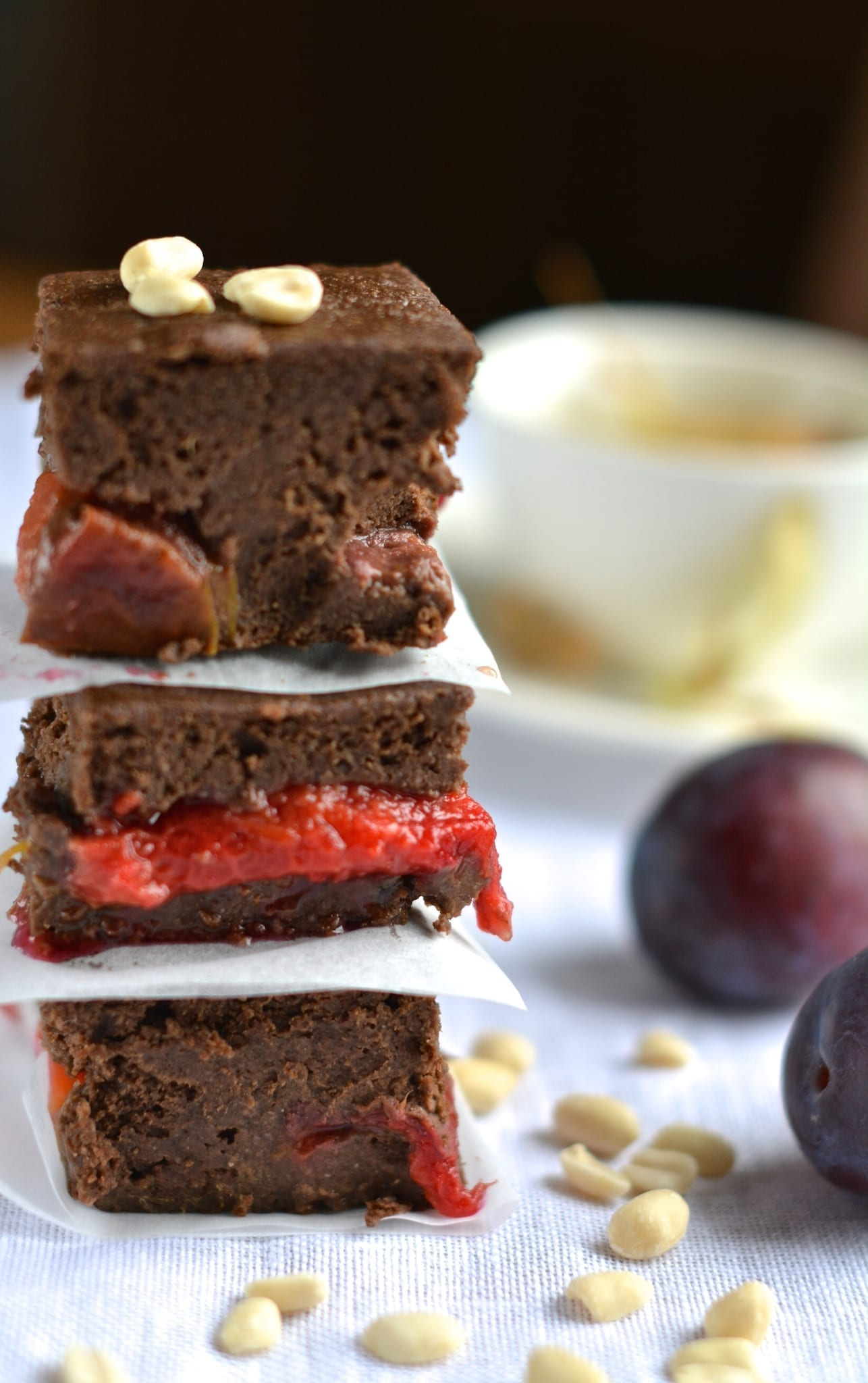 recipe, dessert, breakfast, brownie, carob, cacao, plums, coconut milk, oat flour, buckwheat flour, dates, banana, apple sauce, sugar-free, gluten-free, casein-free, vegan, plant-based, lactose-free