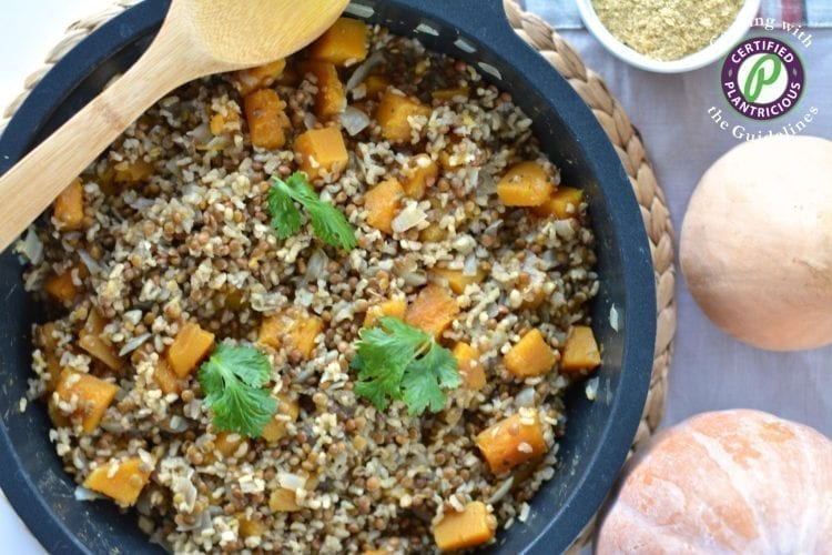Hearty pumpkin lentil risotto oil-free