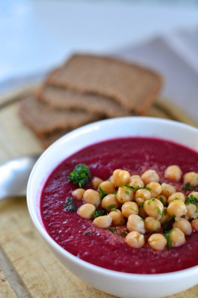 soup, beetroot, chickpeas