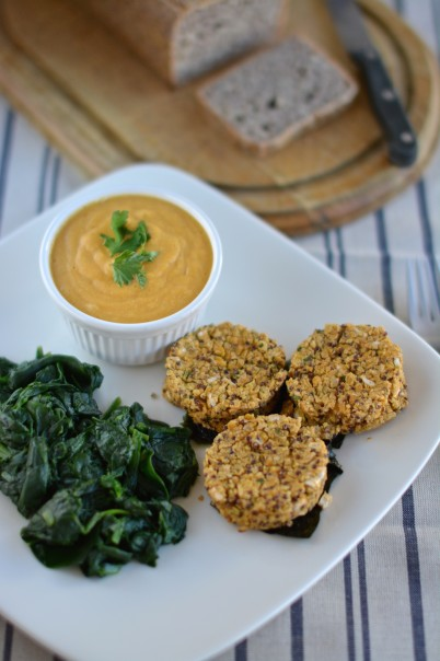 Chickpea-Quinoa Patties with Cheesy Vegan Sauce