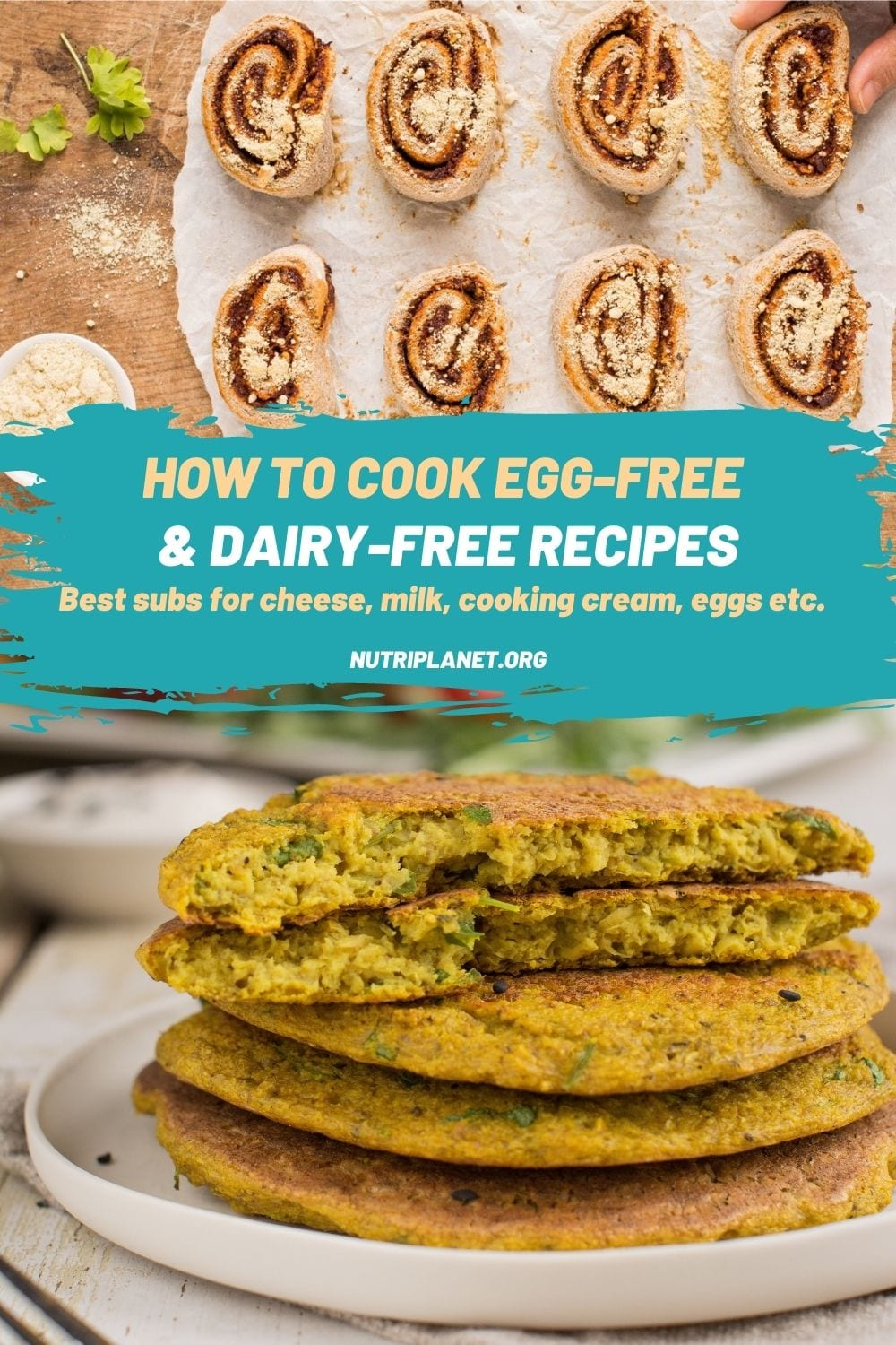 How to cook egg-free and dairy-free recipes. Substitutions for cheese, milk, sour cream, and eggs in vegan cooking.