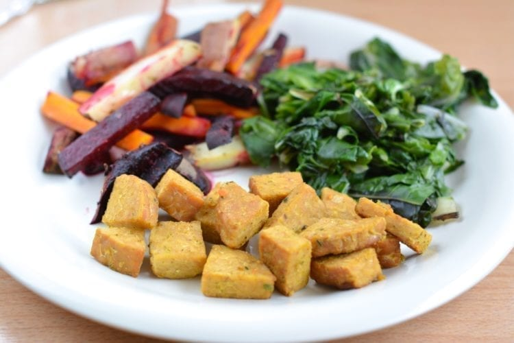 Tempeh with Oven-Roasted Veggies and Chard