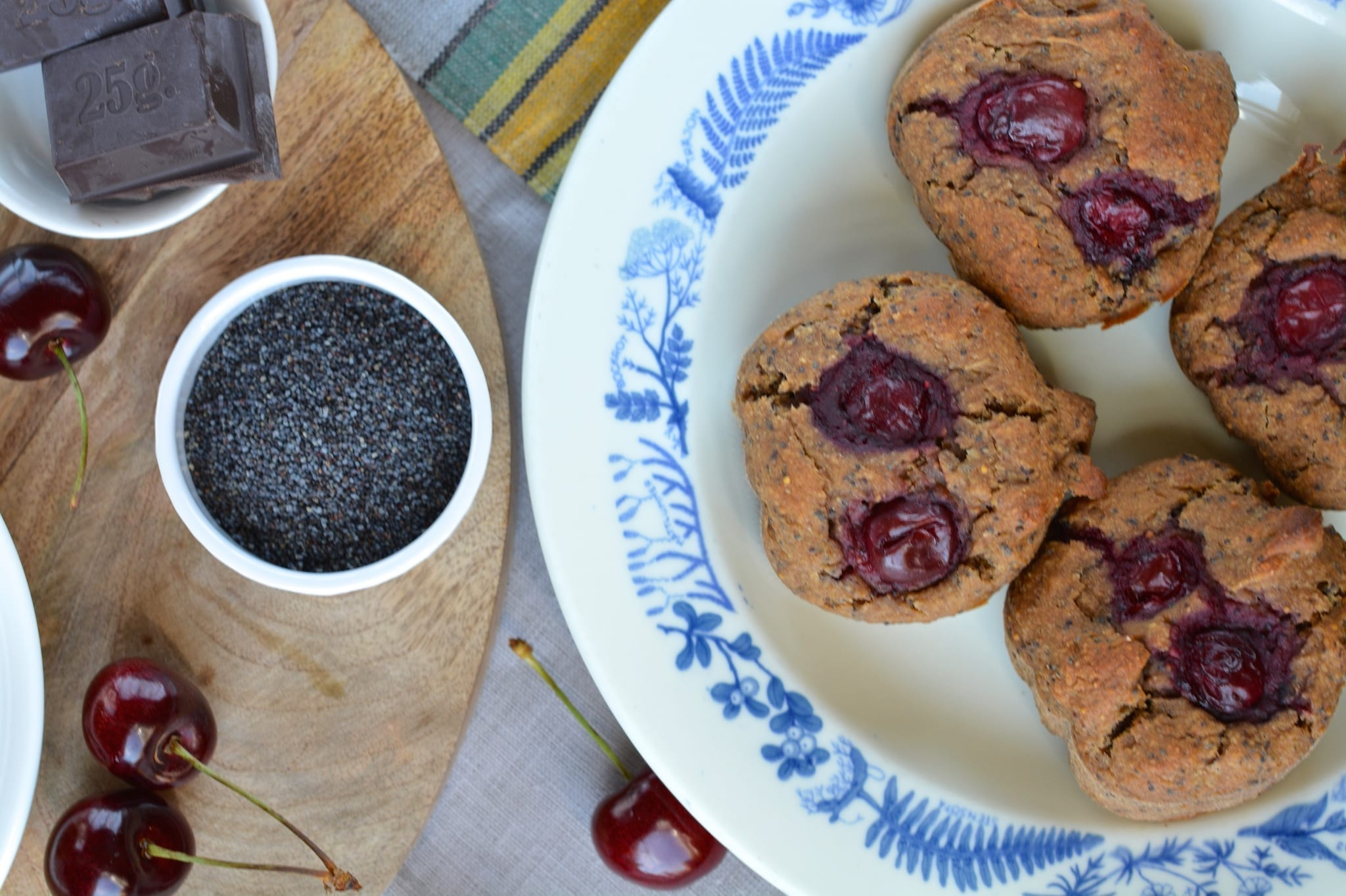 Spicy Cherry Muffins with Poppy Seeds