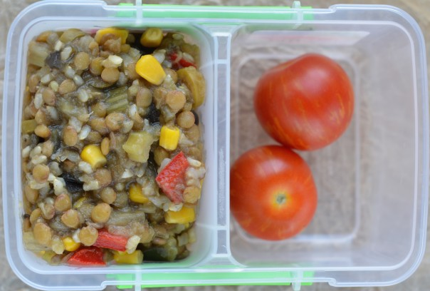 Green Lentil-Rice-Eggplant-Bell Pepper Stew with Cherry Tomatoes