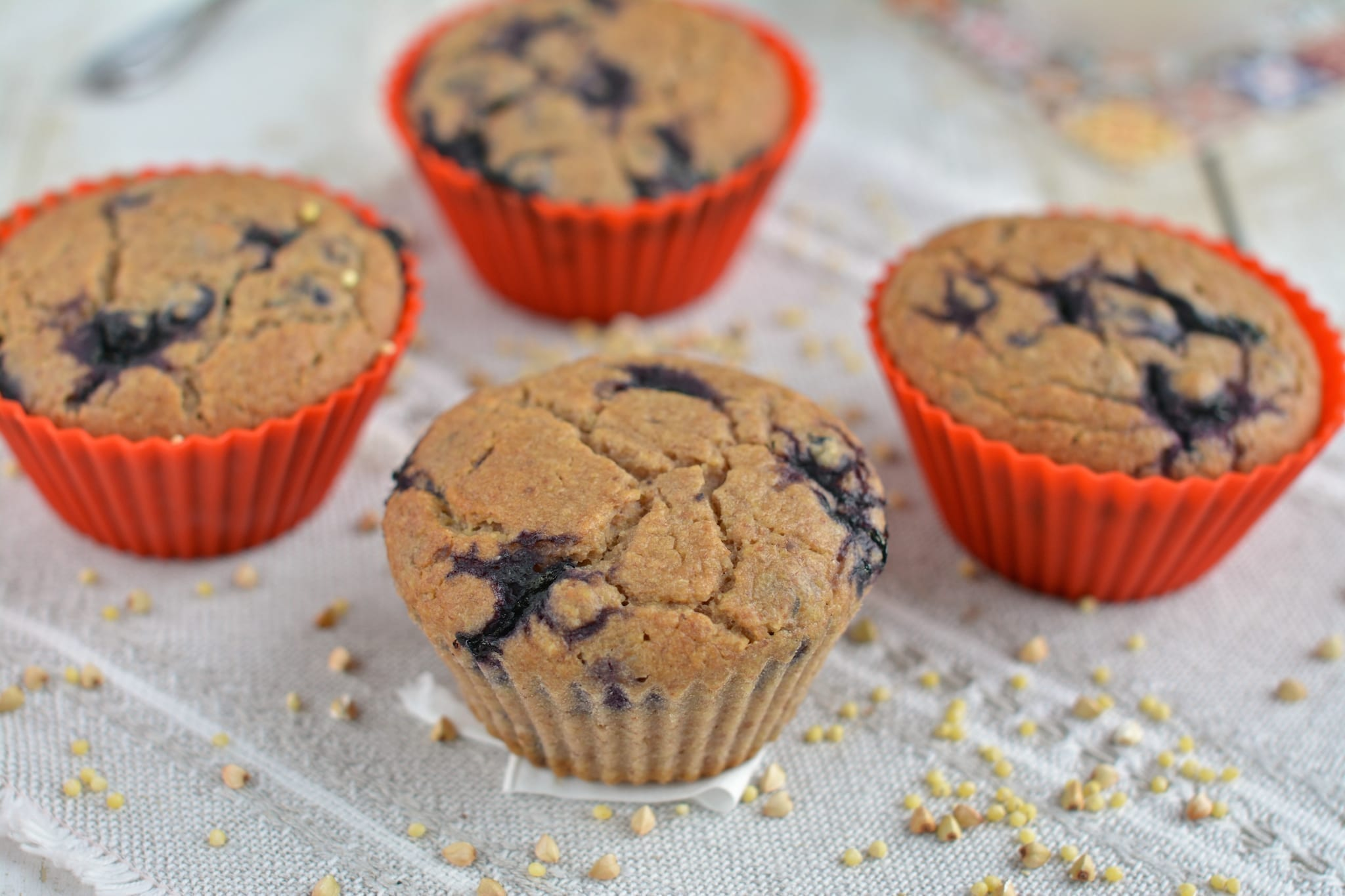 Millet-Buckwheat Groat Muffin Breads with Blueberries