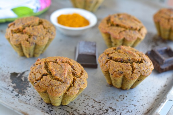 Turmeric-Chocolate Muffins with soaked millet and buckwheat