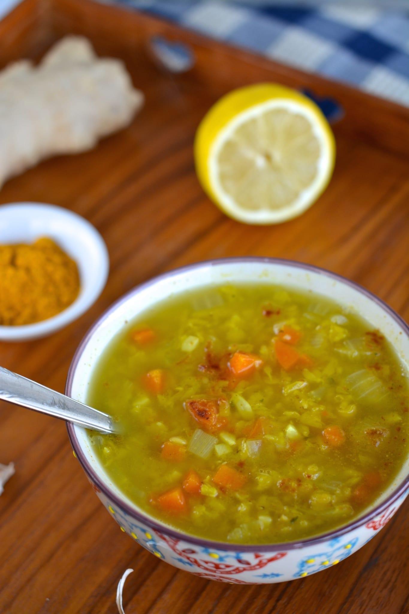 Ginger-Lentil Soup for Cold Season