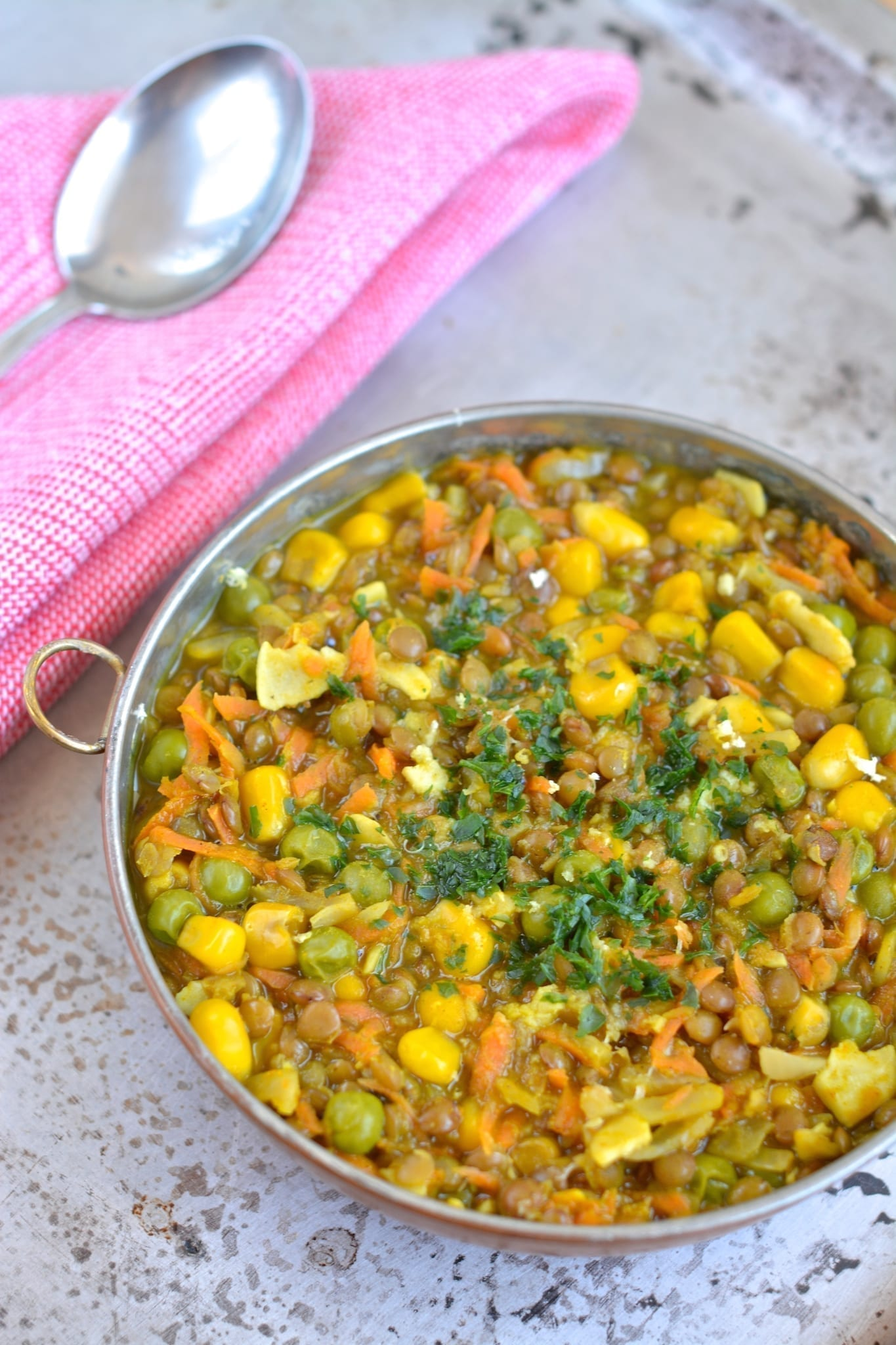 Stew, Brown Lentil-Corn-Green Peas