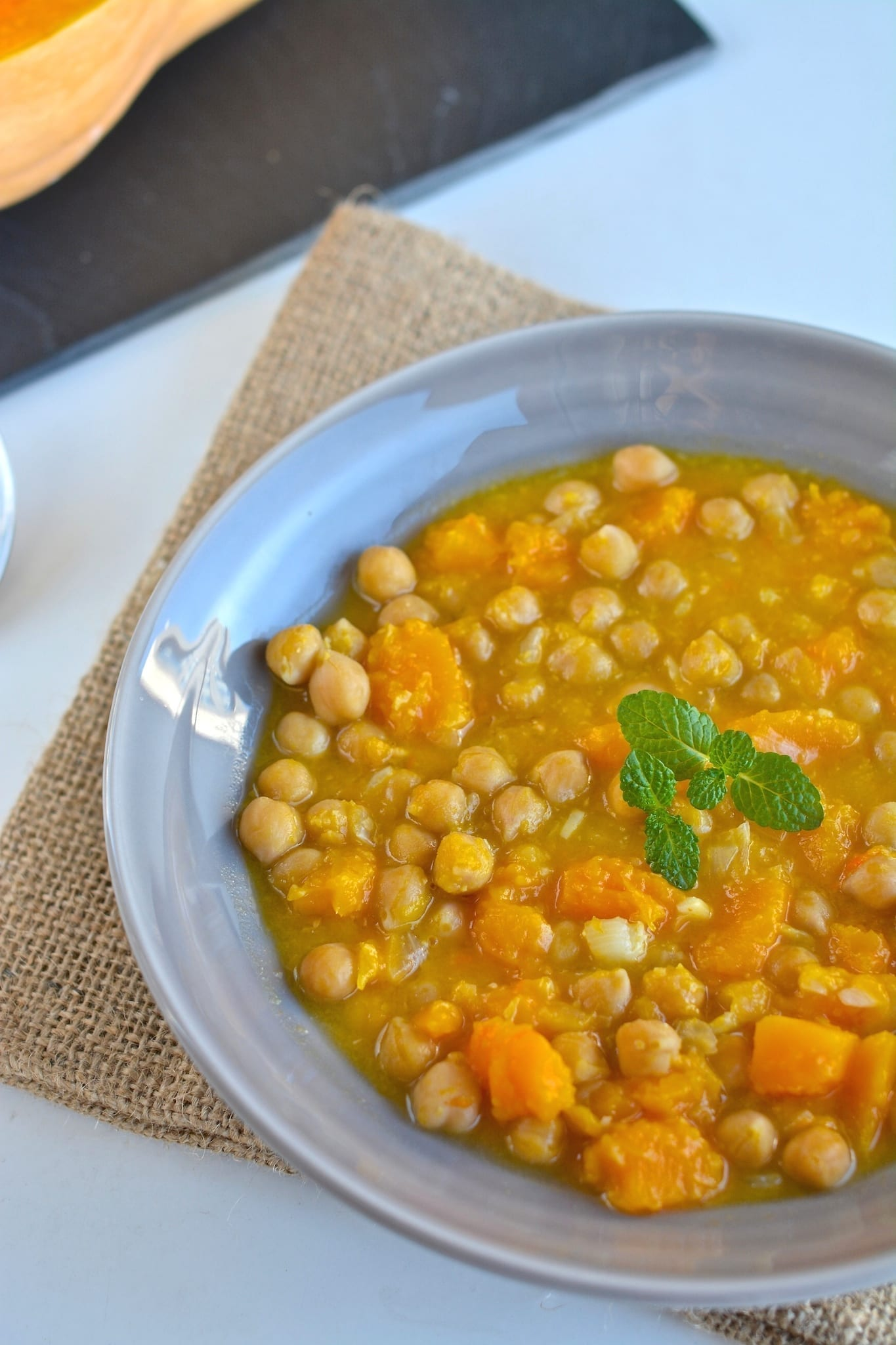 vegan squash or pumpkin stew with chickpeas and carrots