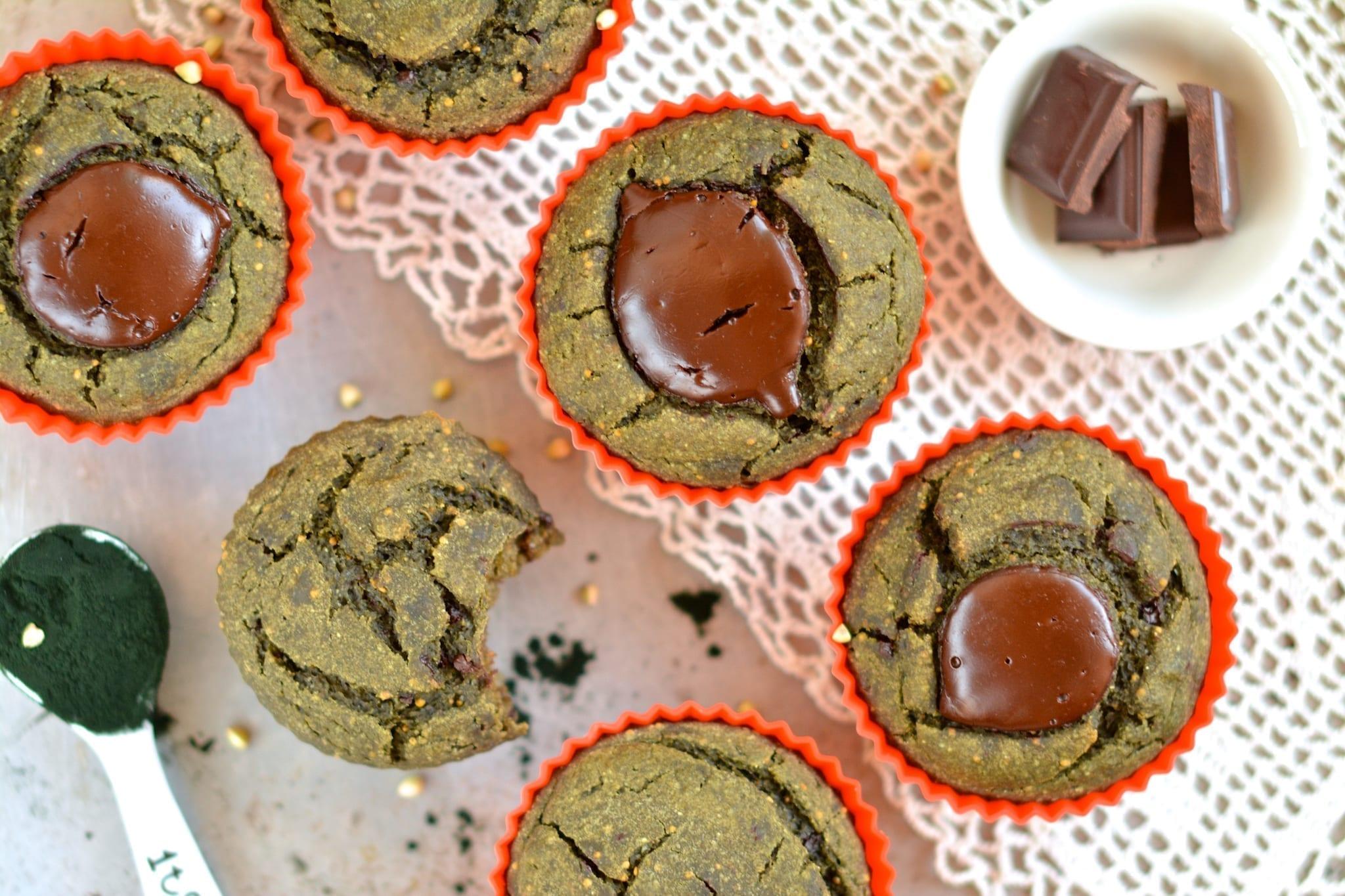 Muffins, Spirulina-Buckwheat, Oil-Free, Sugar-Free