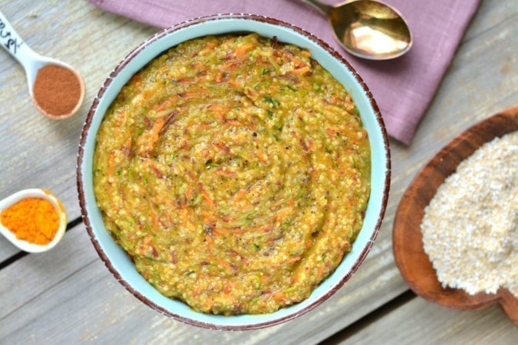 Spiced Oat Bran Porridge with Carrot and Zucchini