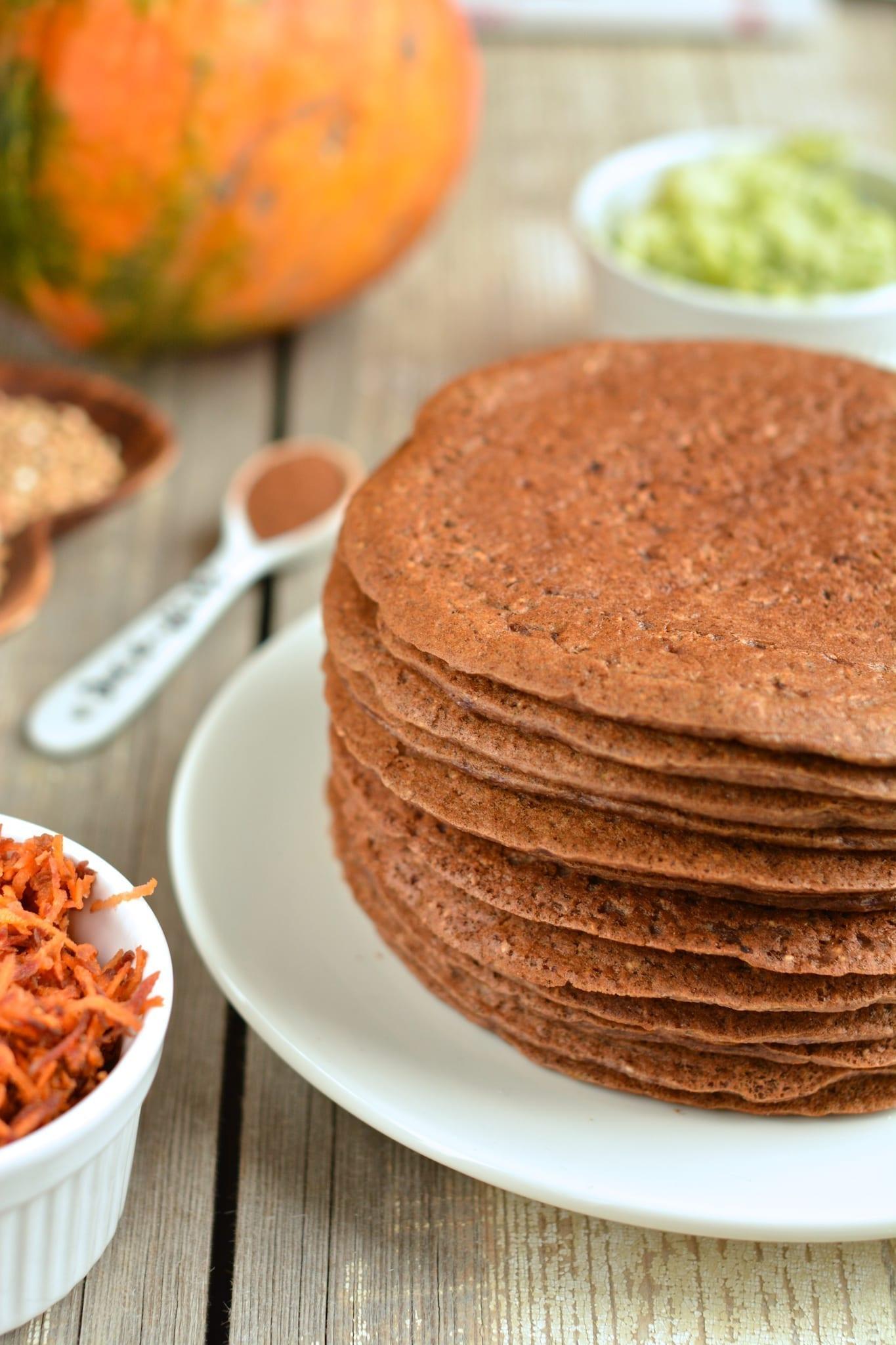 Fluffy Buckwheat-Oat Bran Pancakes with Grated Veggies