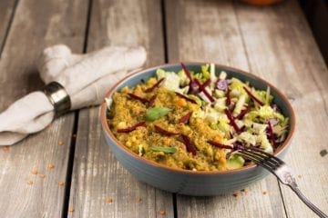 Salad with Red Lentil Dhal