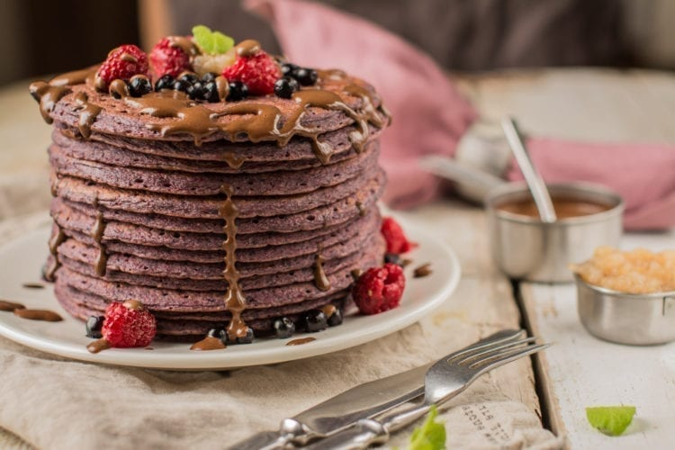 Blueberry-Beet Pancakes, Oil-Free & Vegan