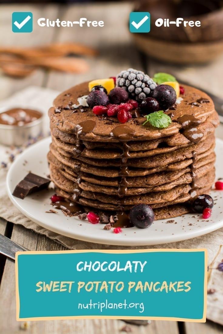 Chocolaty Vegan Gluten-Free Sweet Potato Pancakes