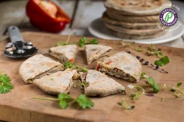 Cauliflower stuffed flatbread Parathas made of buckwheat and chickpea flour