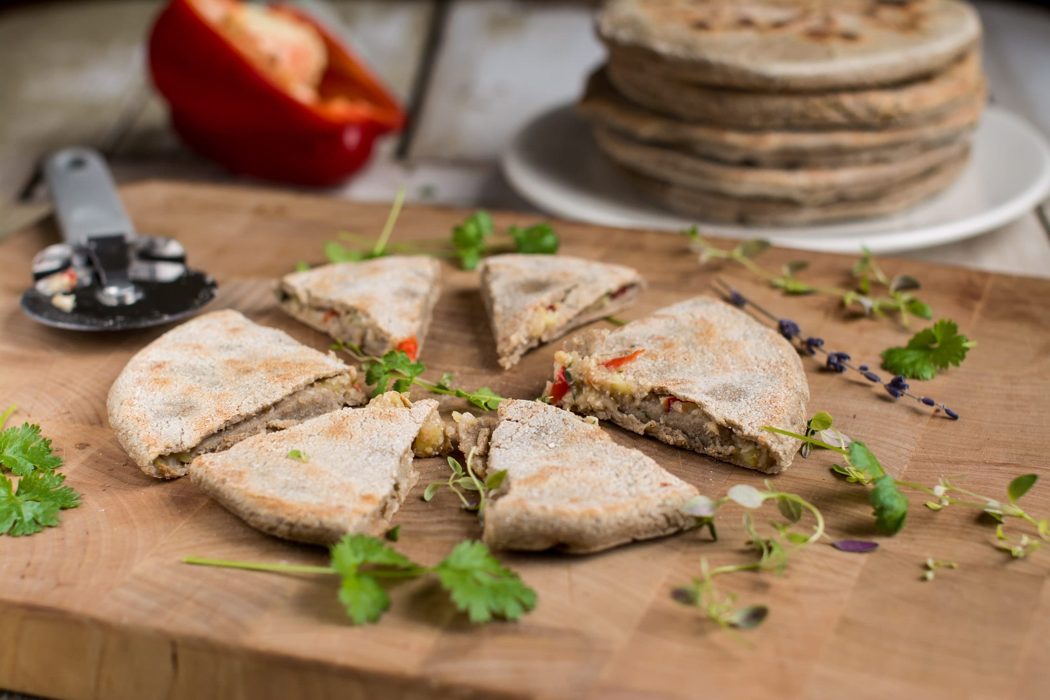 Parathas, Potato-Cauliflower Stuffed Flatbread