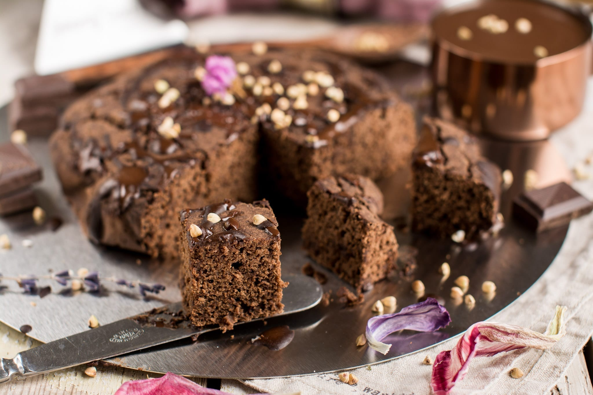 Vegan Buckwheat Brownies with Dark Chocolate, Oil-Free and Gluten-Free