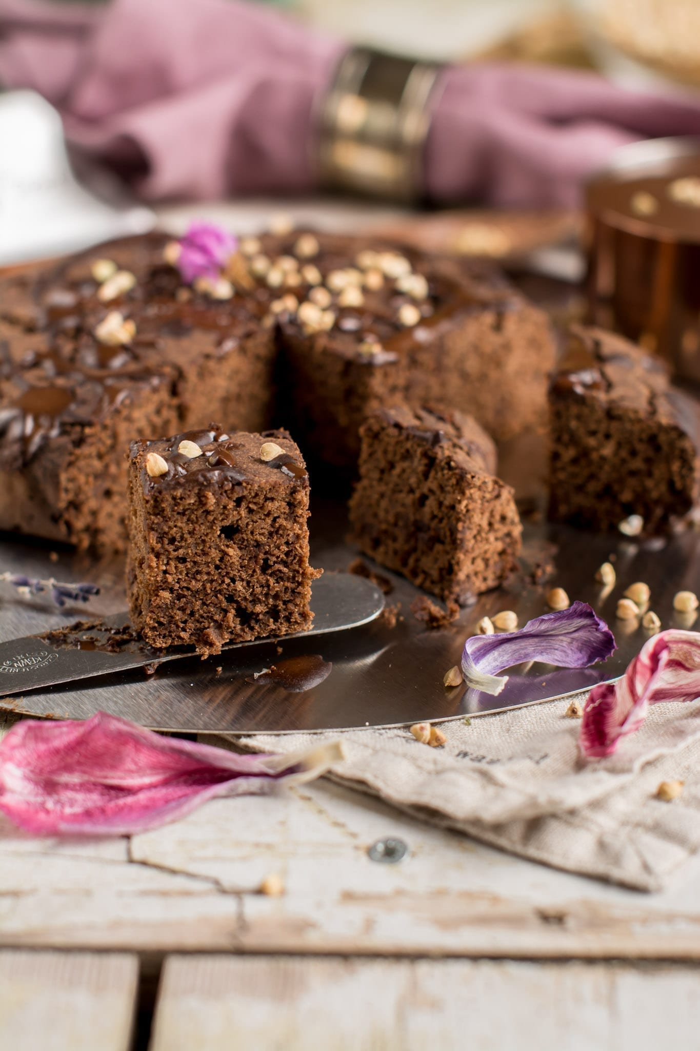 Vegan Brownies with Dark Chocolate, Oil-Free and Gluten-Free