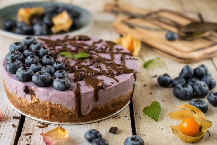Vegan Tofu Cheesecake with Purple Yams, Oil-Free & Gluten-Free