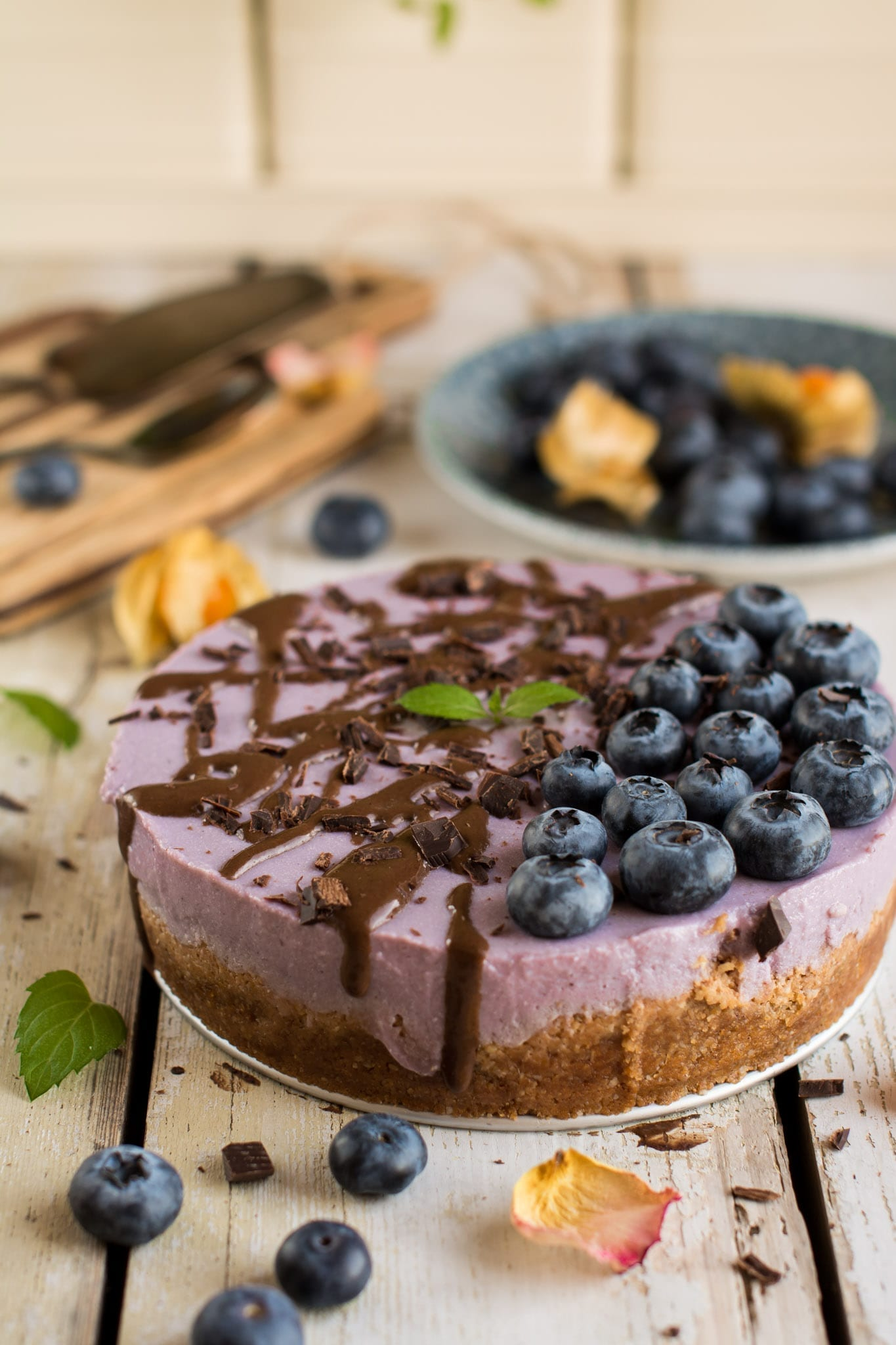 Vegan Cheesecake with Tofu, Purple Yams and Creamed Coconut, Oil-Free & Gluten-Free