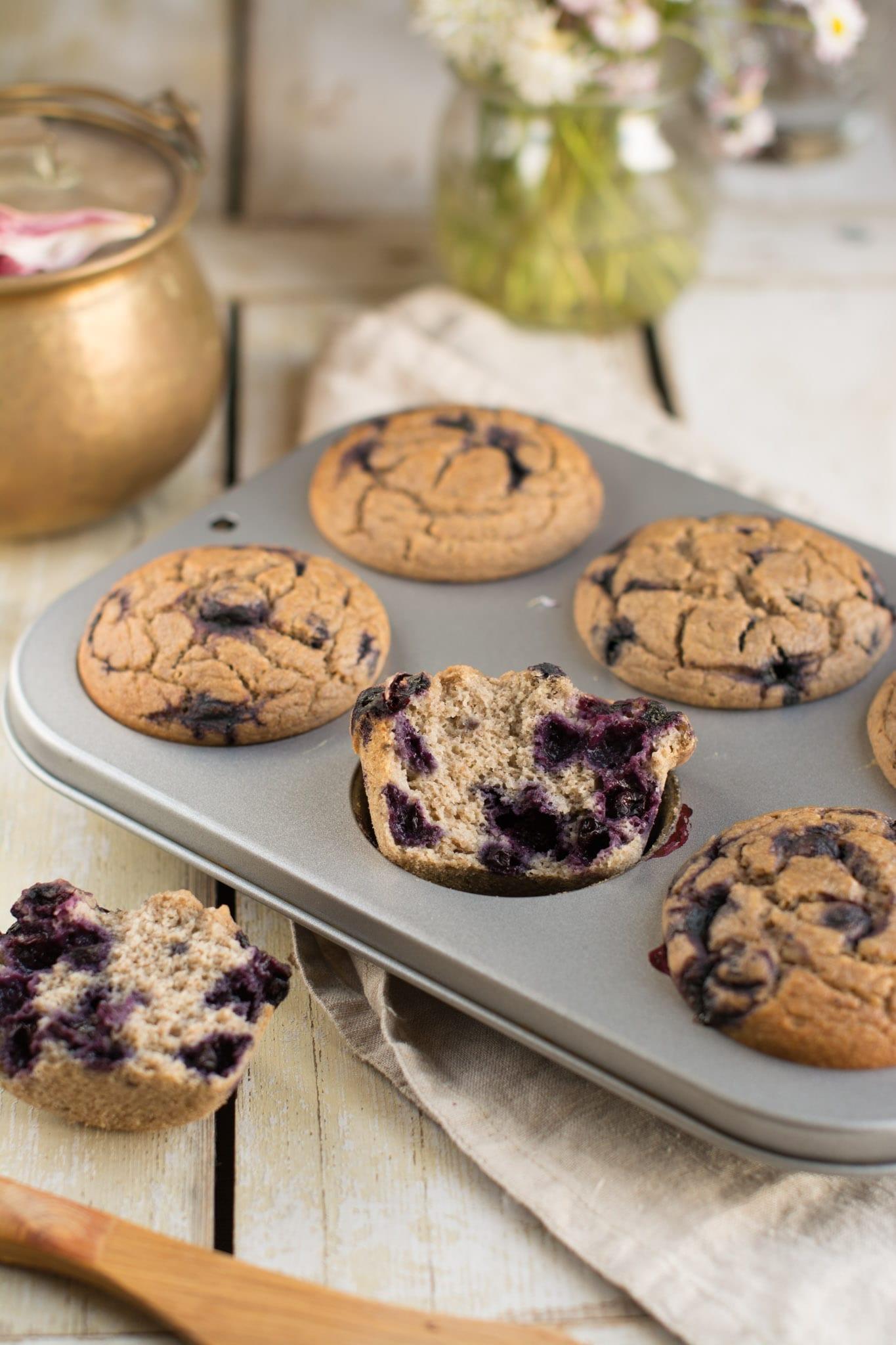 Vegan Gluten-Free Blueberry Muffins, Oil-Free & Sugar-Free