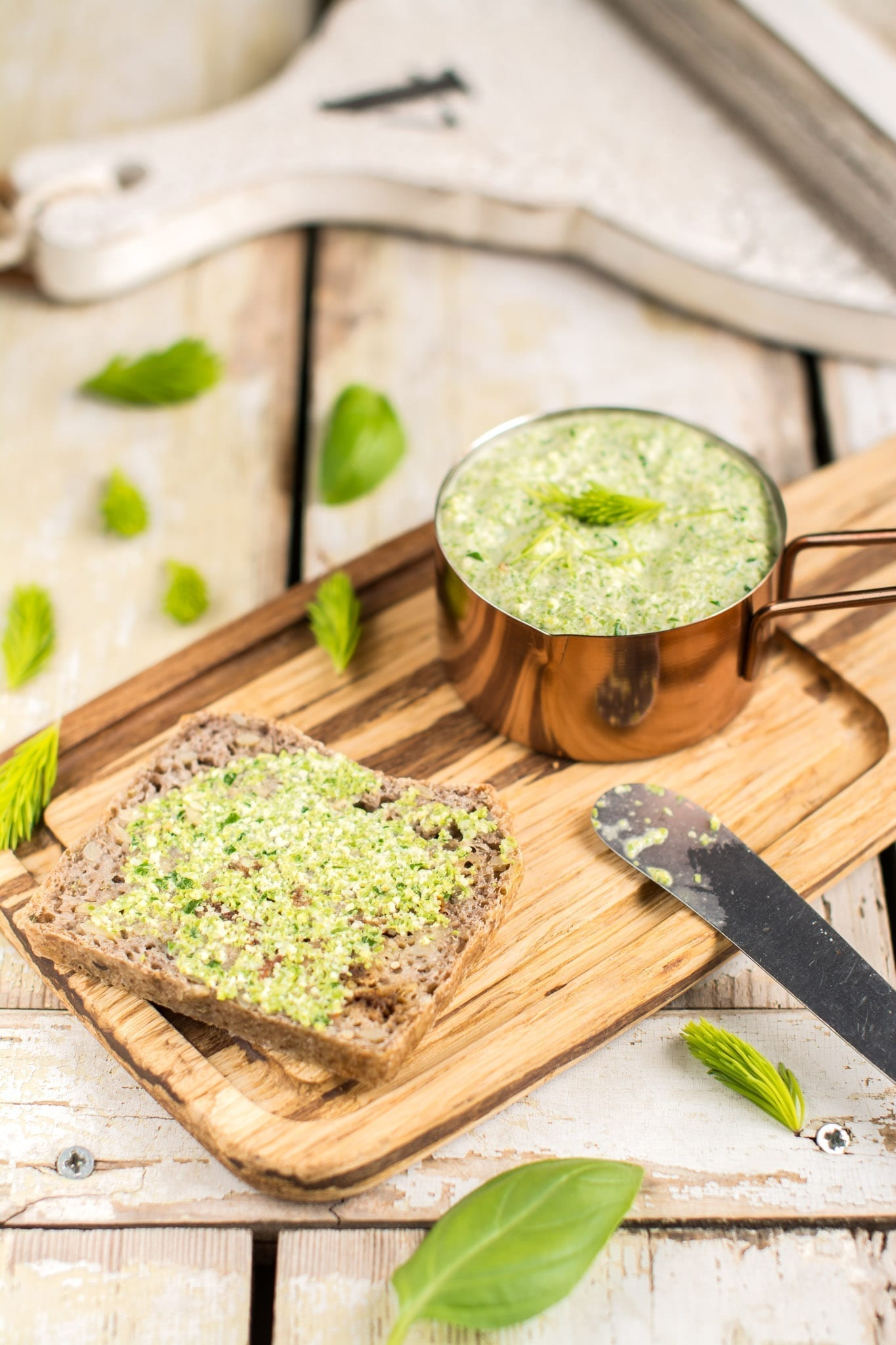 Oil-Free Pesto with Spruce Tips and Basil, Vegan