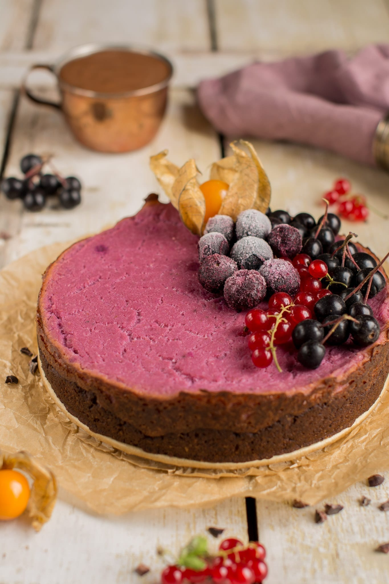 Tofu cheesecake with purple sweet potato