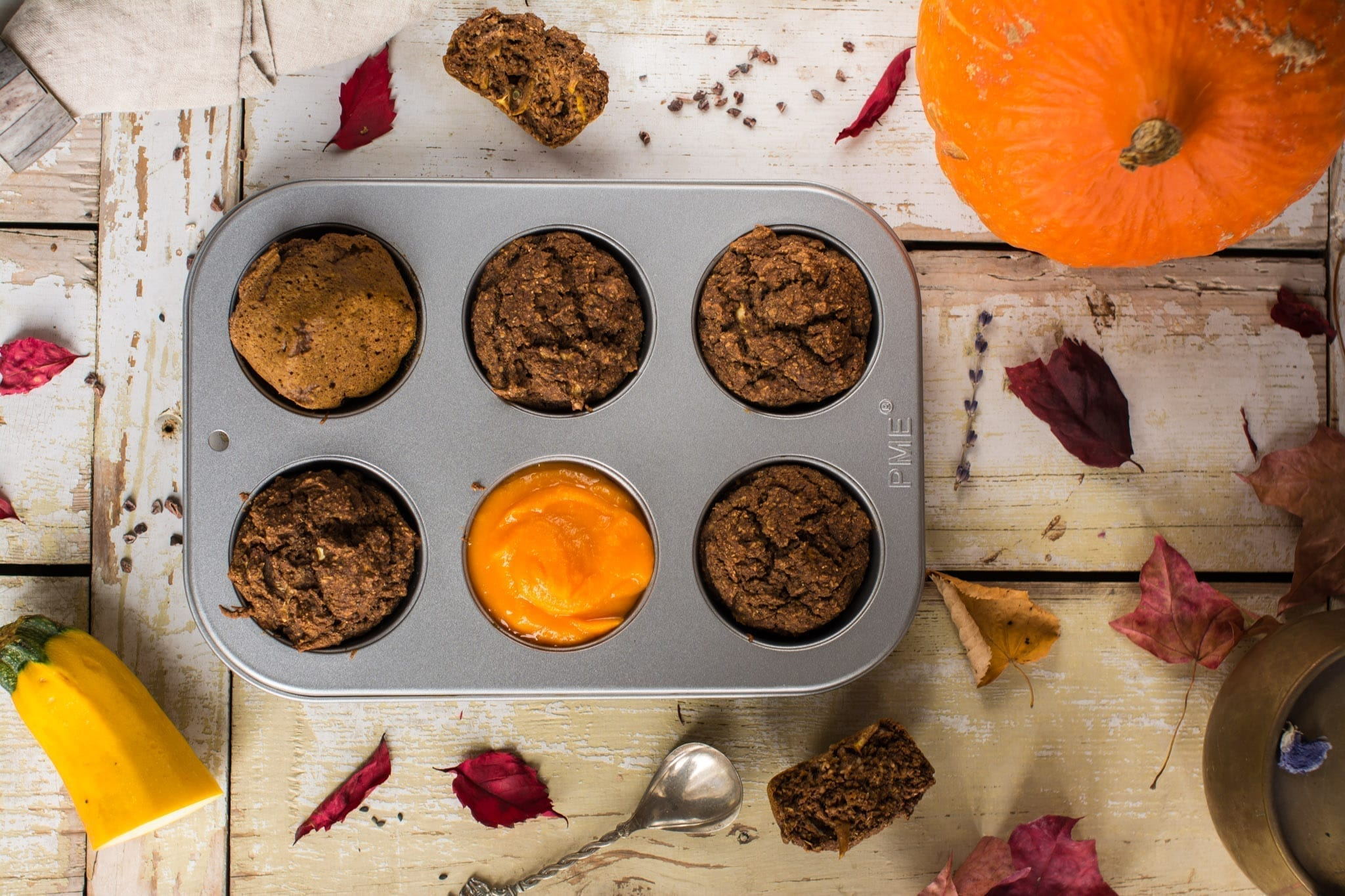 Chocolaty Vegan Pumpkin Muffins Recipe with Zucchini