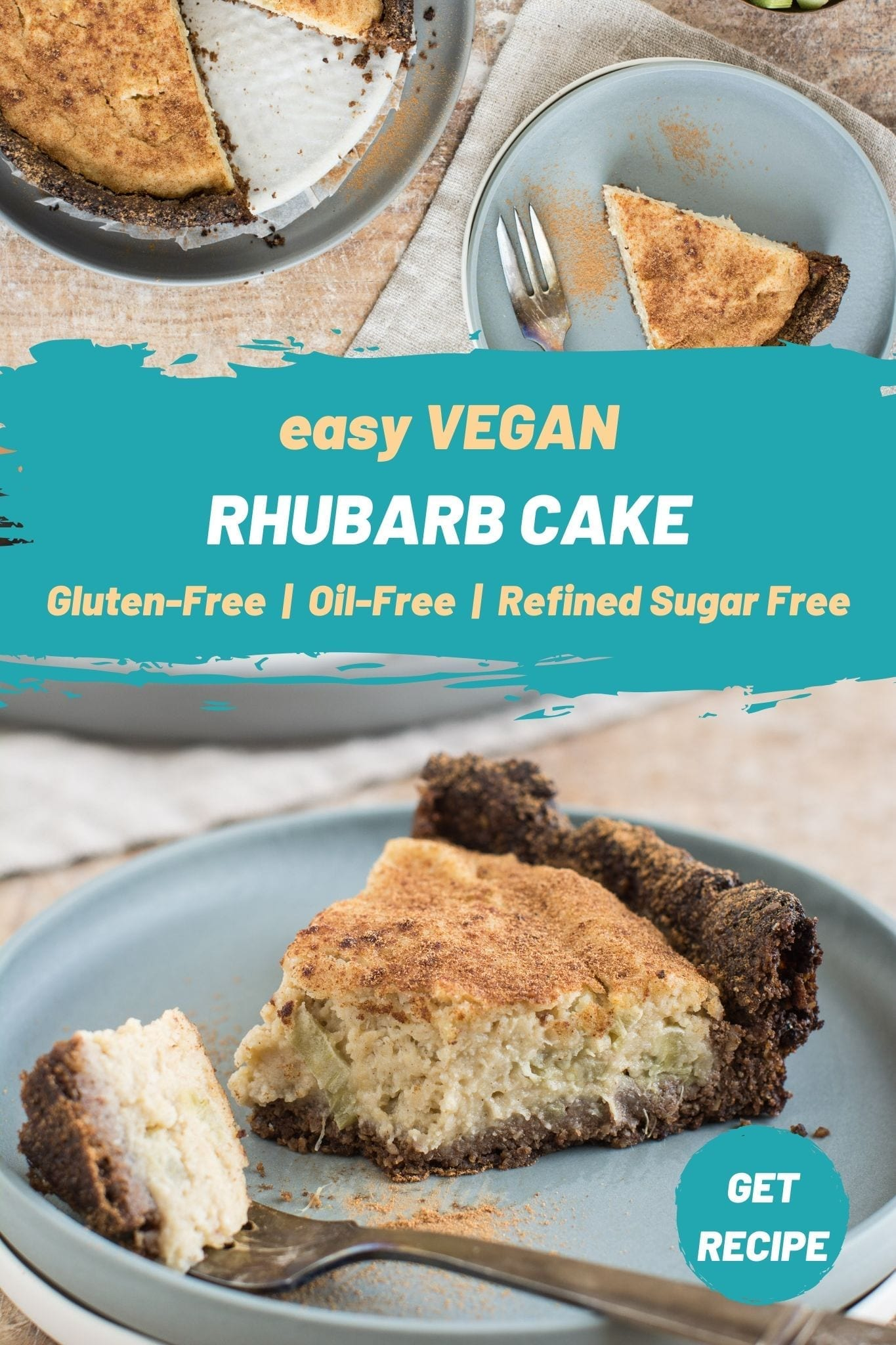 This easy gluten-free vegan rhubarb cake has only 10 ingredients and doesn't require advanced baking skills. The dairy free filling is creamy and moist perfectly combining the sweetness of the batter and sourness of rhubarb.
