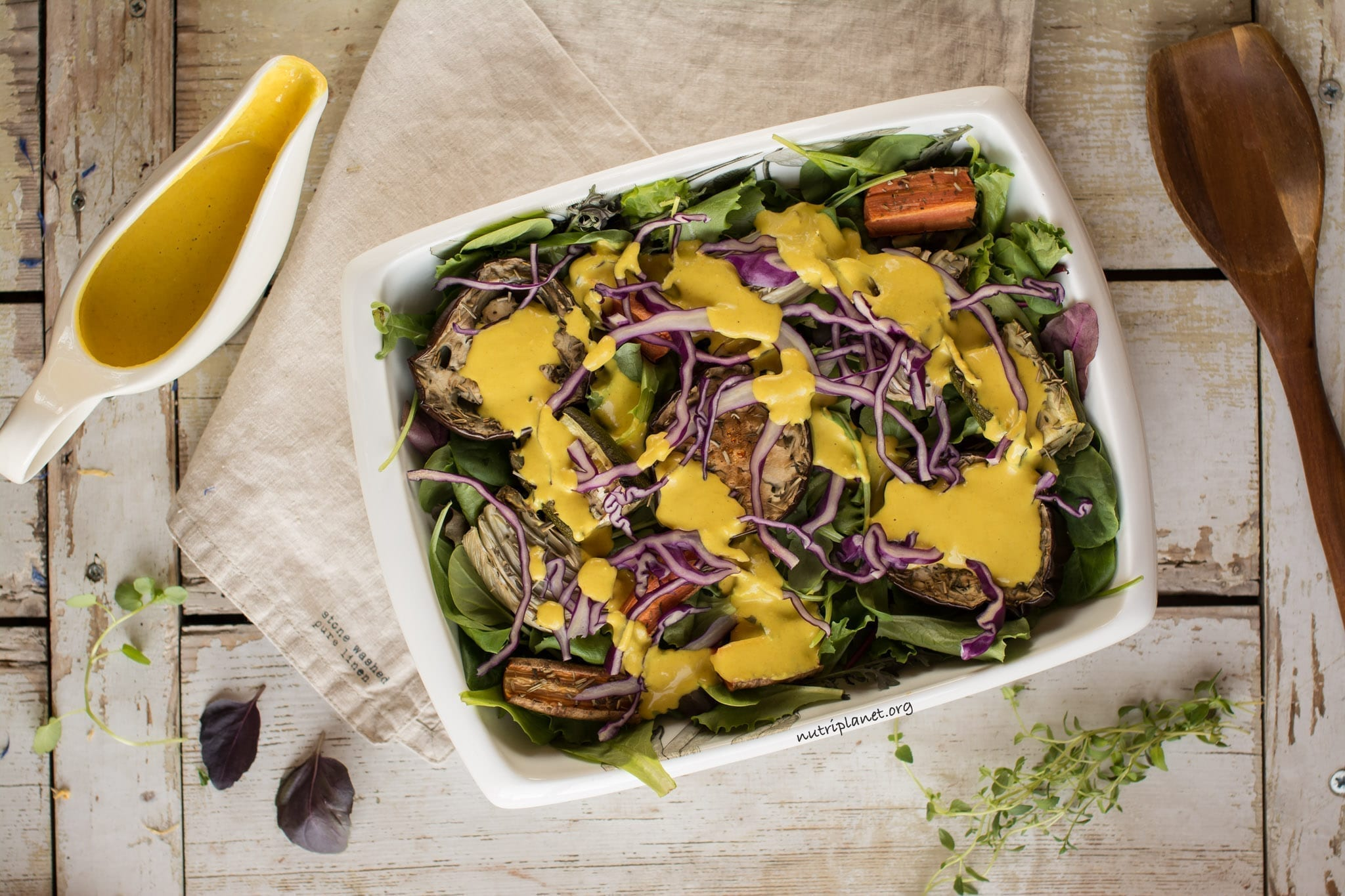 Vegan Salad with Roasted Veggies and Tahini Dressing