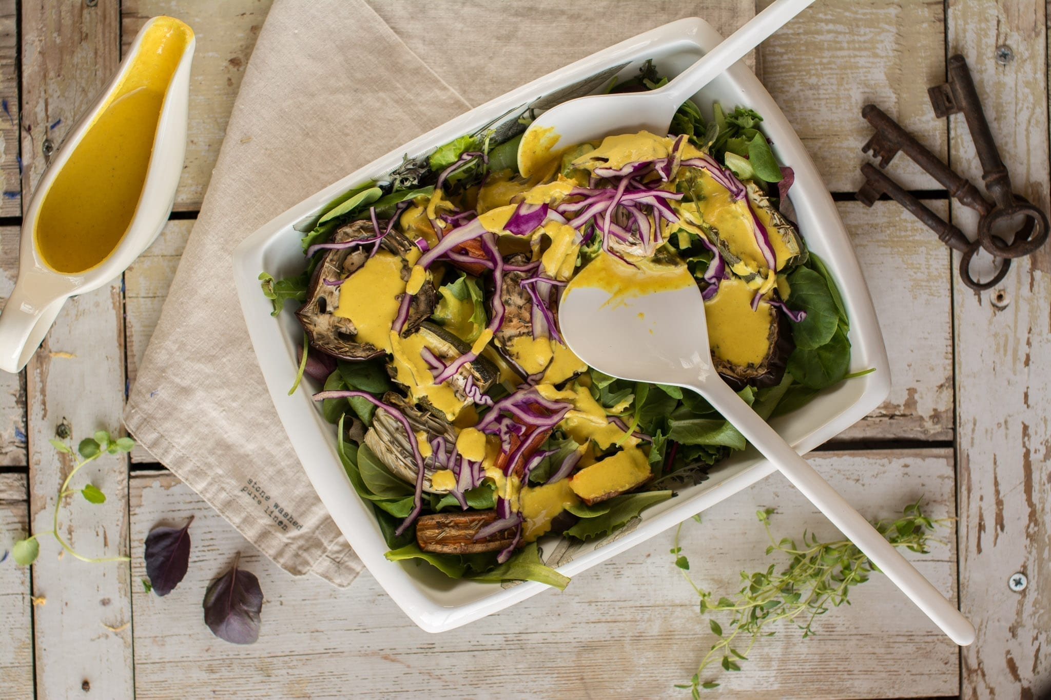 Vegan Salad with Roasted Veggies and Tahini Dressing