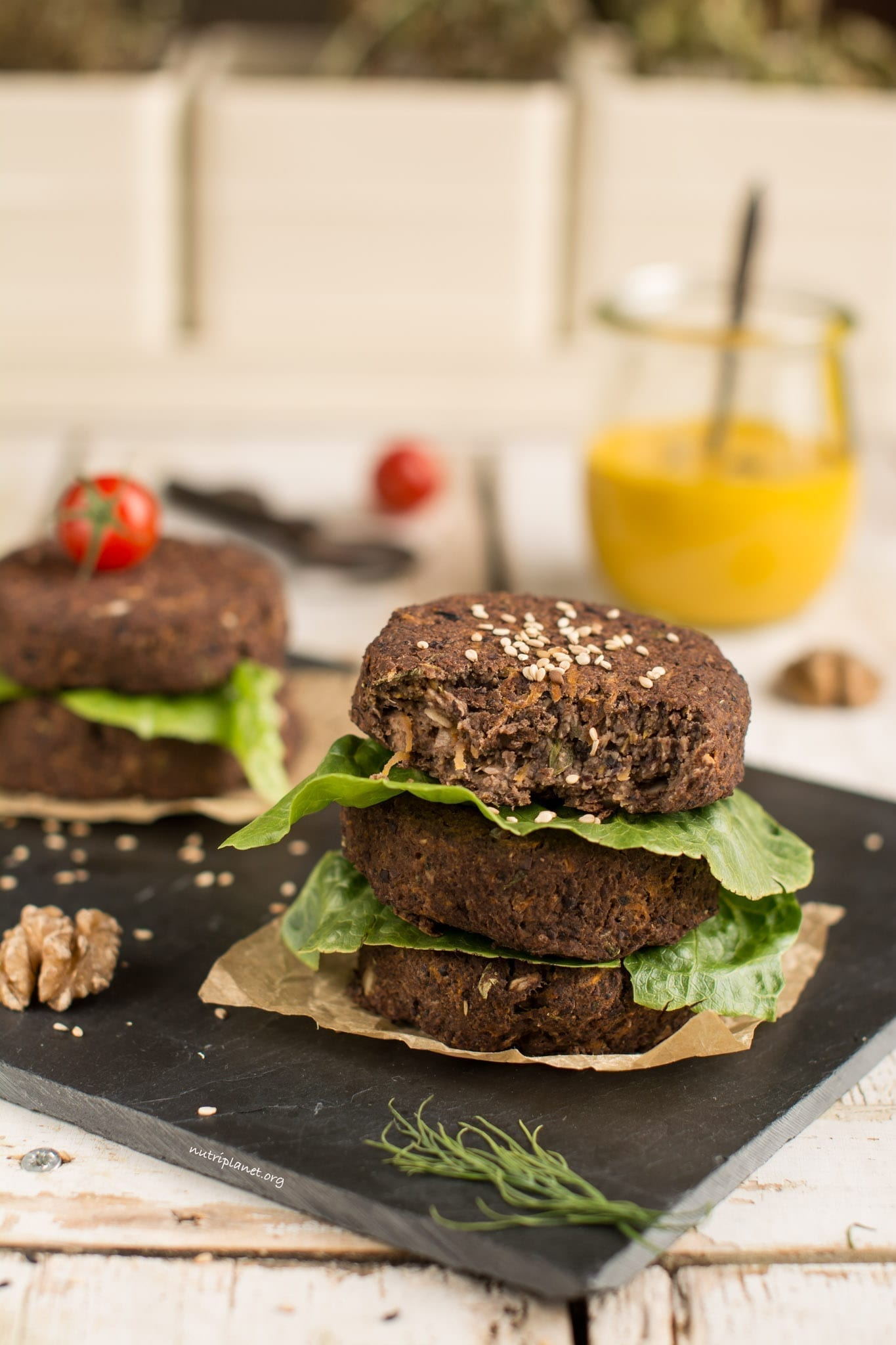 Vegan Black Bean Burgers with Mushrooms