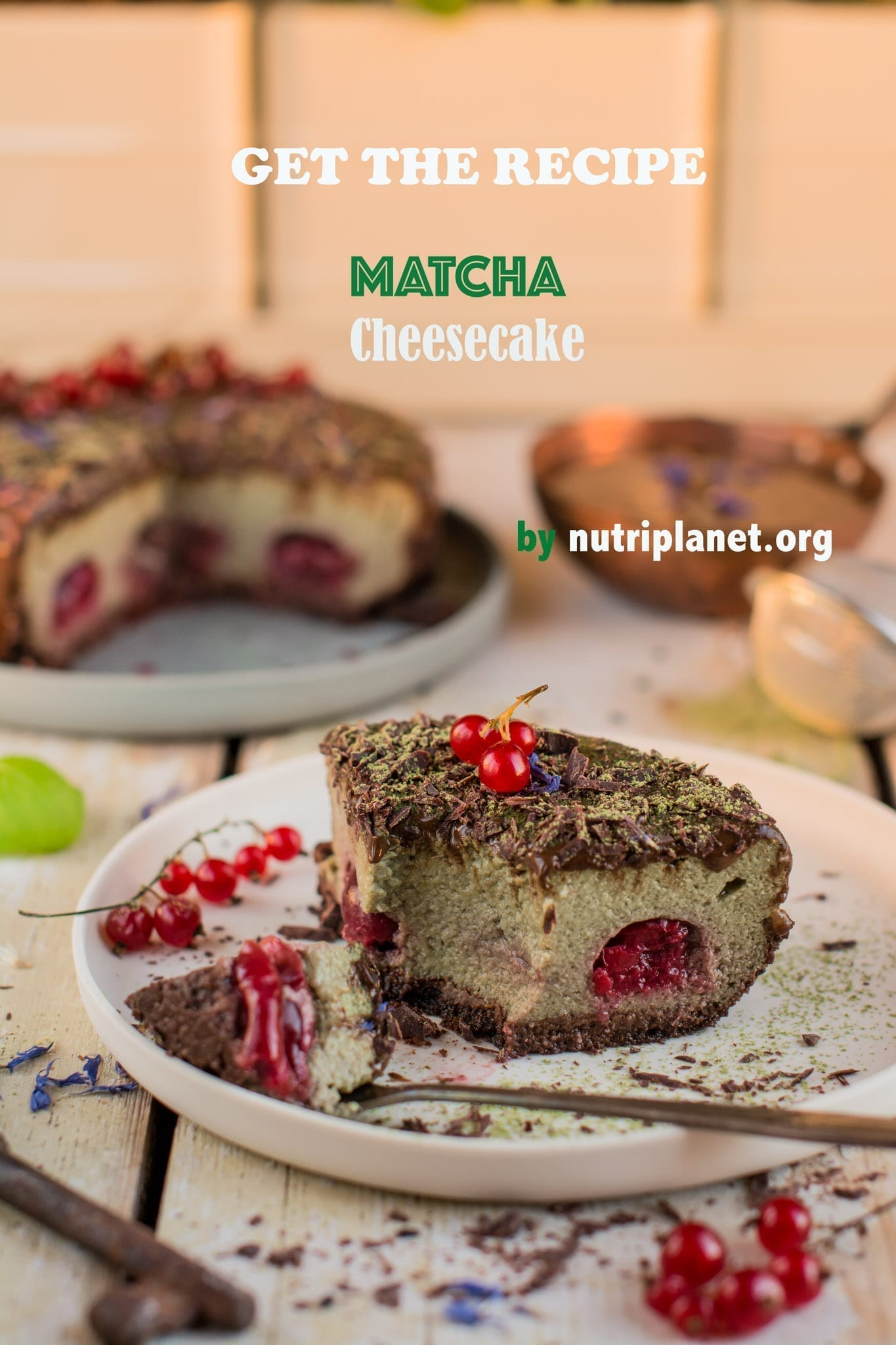 Vegan Matcha Cake with Tofu and Cherries