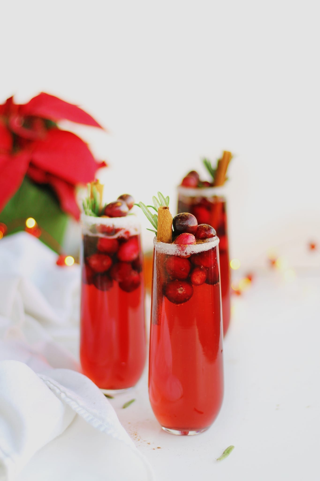 Vegan holiday recipes, orange cranberry mimosa mocktail