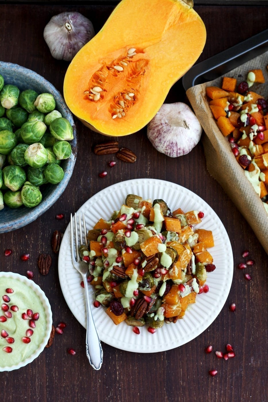 Vegan Christmas Dinner: Roasted Brussels Sprouts with Butternut Squash