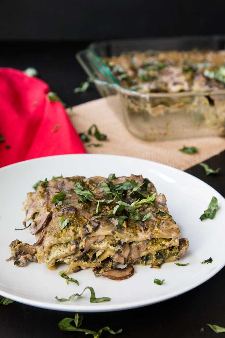 Vegan Christmas Dinner Creamy Spinach Mushroom Lasagna