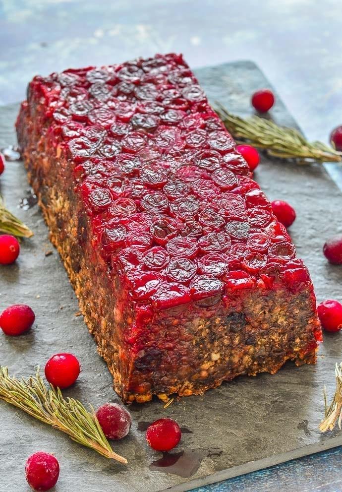 Vegan Christmas Dinner: Mushroom Lentil Loaf with Cranberries