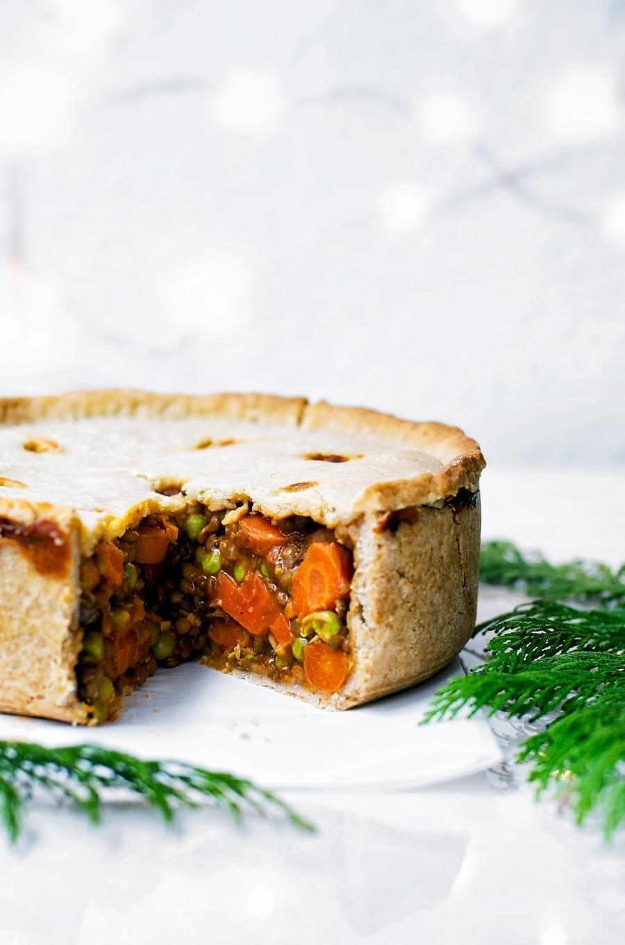 Vegan Christmas Dinner Lentil Mushroom Pie