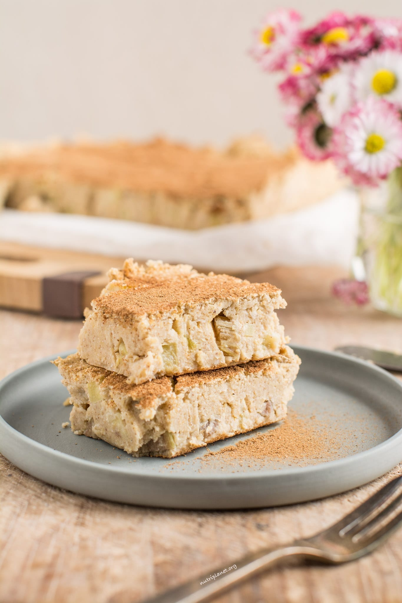 Flourless Rhubarb Custard Cake [Vegan]