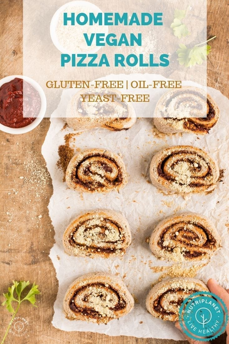 Homemade gluten-free vegan pizza rolls make a healthy savoury bite sized snack for busy weekdays. Furthermore, they are yeast-free and oil-free.